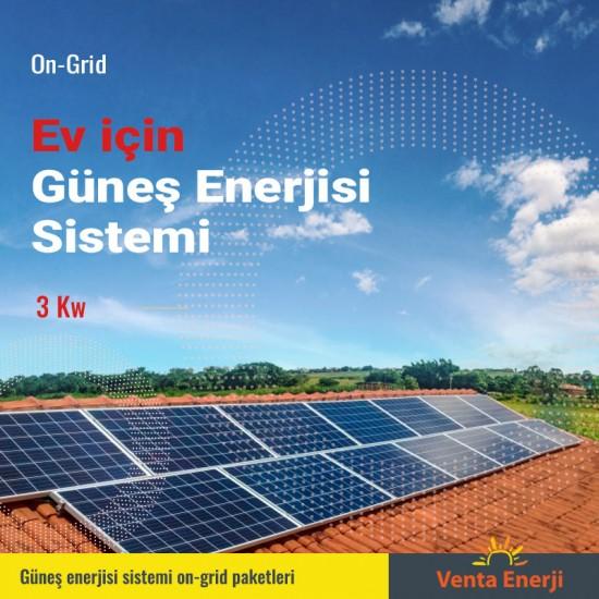 On Grid 3 Kw Güneş Enerjisi Sistemi - Ev için